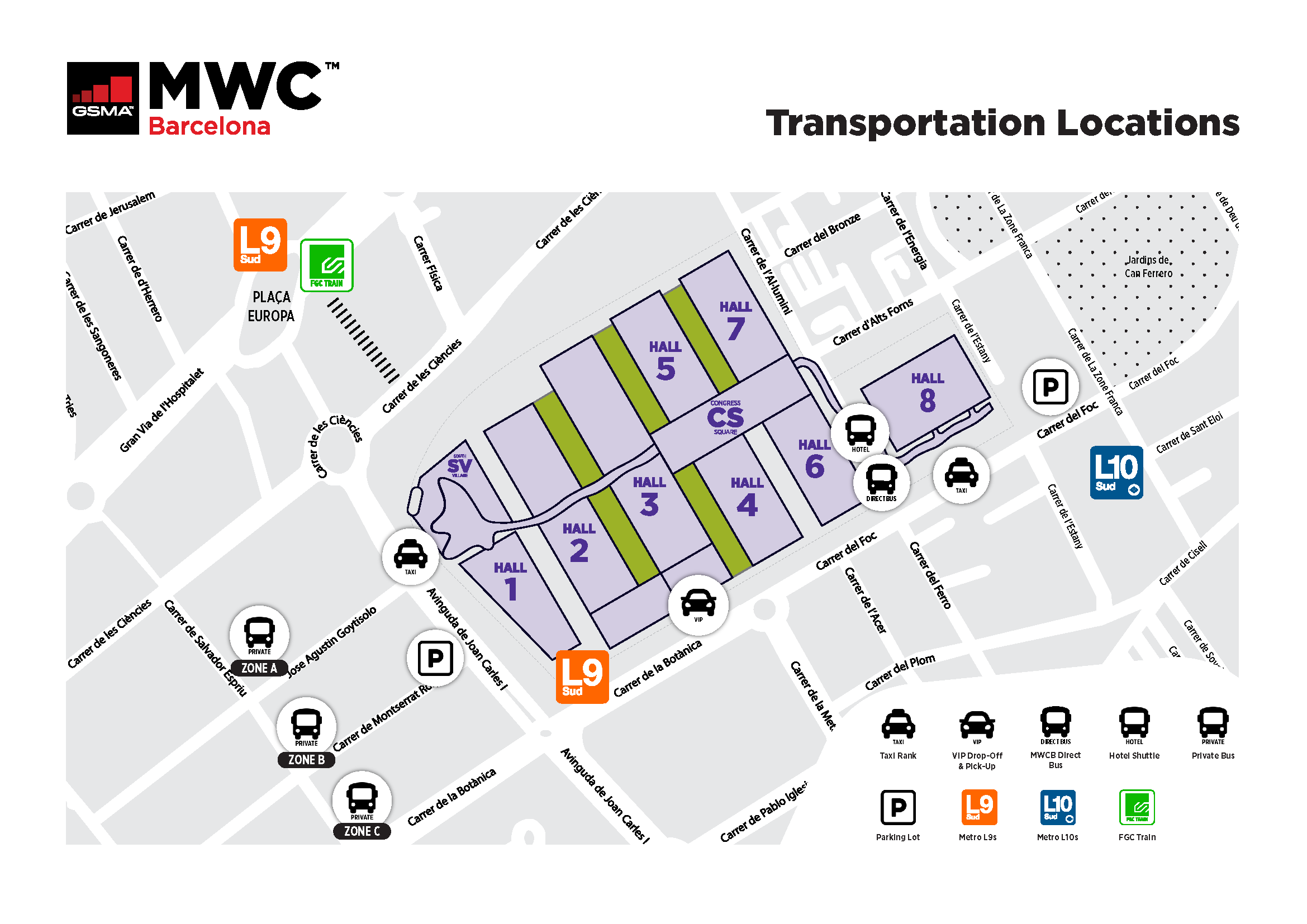 MWC Barcelona Transporation Map