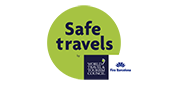 Safe travels fira logo transparent footer